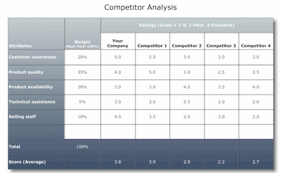 competitor analysis sample. Sample 6